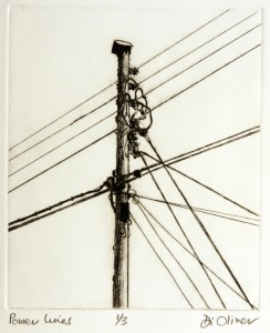 Power Lines Drypoint Edition of 3
