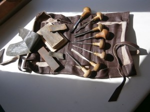 Linocut tools and sharpening stones