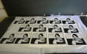 Prints drying ready for the finishing touches.