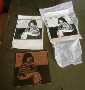 Linocut and first proofs.