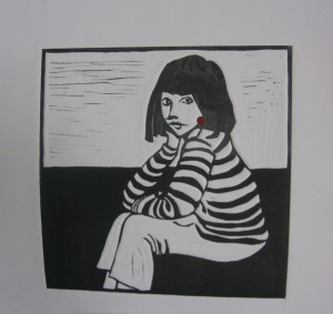 Girl with a Red Earring Linocut
