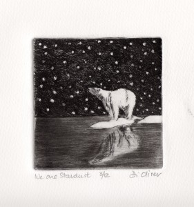 """We are stardust Drypoint 4"""" x 4"""" Edition of 12"""