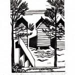Wells Beach Huts Linocut Di Oliver