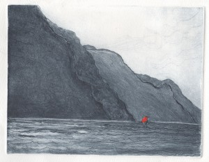 High wind Lake Garda Drypoint Edition of 10