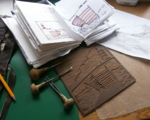 Linocut of lighthouse - work in progress