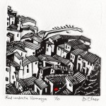 Red Umbrella Vernazza Linocut edition of 10