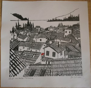 "Red umbrella Malcesine Linocut 12"" x 12"" edition of 25"