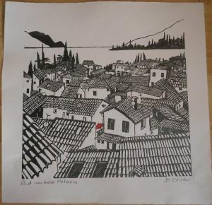 "Red umbrella Malcesine Linocut 12"" x 12"" edition of 25"